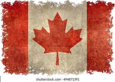 Canadian national flag with a worn distressed vintage grungy textures and edges