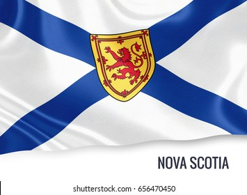 Canadian state Nova Scotia flag waving on an isolated white background. State name is included below the flag. 3D rendering.