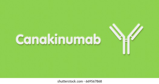 Canakinumab monoclonal antibody drug molecule. Targets interleukin-1 beta and is used in the treatment of a number of auto-inflammatory diseases. Generic name and stylized antibody.