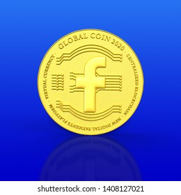 CANBERRA, AUSTRALIA – May 26, 2019: 3D rendered gold coin and reflection on a blue gradient background with a global coin 2020 concept and Facebook icon as cryptocurrency becomes mainstream