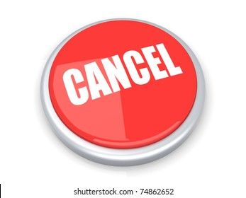 A cancel button. 3D rendered illustration. Isolated on white.