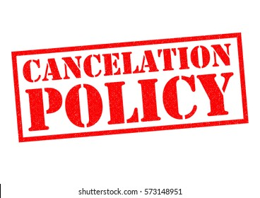 CANCELATION POLICY (US Spelling) red Rubber Stamp over a white background.