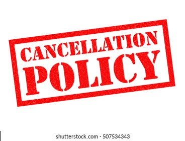 CANCELLATION POLICY red Rubber Stamp over a white background.