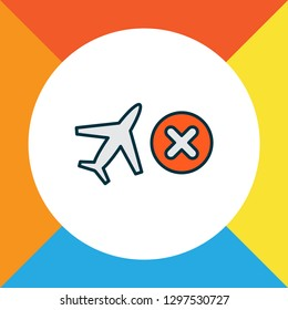 Cancelled flight icon colored line symbol. Premium quality isolated close element in trendy style.