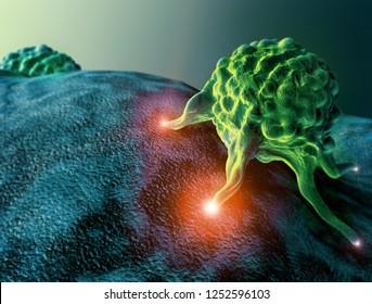 Cancer cells, 3d illustration