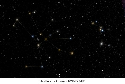 Cancer constellations with Canis Minor constellation in the right