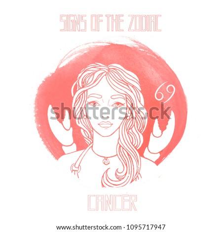 Cancer Draw Girl Stock Illustration 1095717947