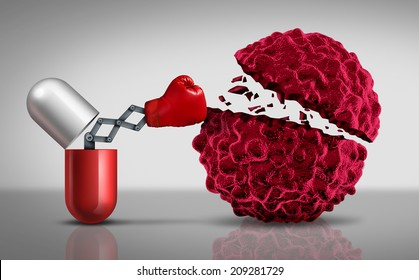 Cancer drugs fighting a cancerous cell as a health care medical concept for a pharmaceutical cure to fight the dangerous disease with life saving medication.