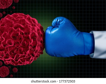 Cancer fight medical concept with an arm of a doctor wearing a blue boxing glove fighting a group of malignant cells as a health care metaphor to find a cure for tumors and therapy to remove illness.