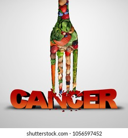 Cancer prevention and killing malignant diseases eating healthy food as a medical nutrition  lifestyle concept with 3D illustration elements.