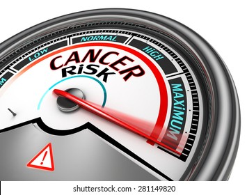 Cancer risk conceptual meter indicate maximum, isolated on white background