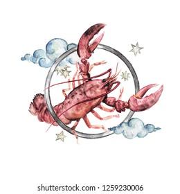 Cancer - Zodiac Symbol. Watercolor Illustration.