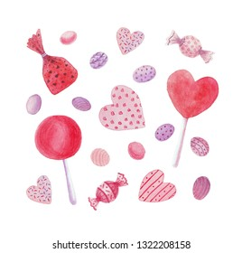 Candies, caramel, lollipop, comfit and candy hearts. Confection set. Watercolor illustration on white background.