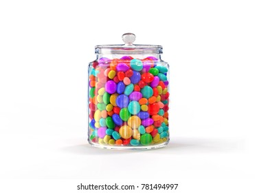 Candies Jar of multicolored on white background, 3D rendering.