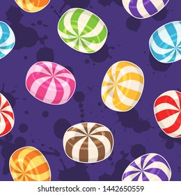 Candies seamless pattern. Background with colored hard sugar candies on grunge background. Raster version