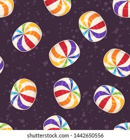 Candies seamless pattern. Background with hard sugar round candies on dark background. Raster version