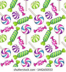 Candies seamless pattern. Background with various candies. Raster version