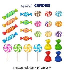 Candies. Set of colored cartoon candies. Raster version
