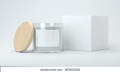 Candle and box mock up 3d rendering
