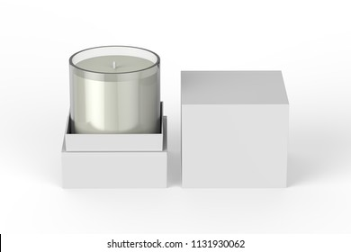 candle with box, mock up template on isolated white background, 3d illustration