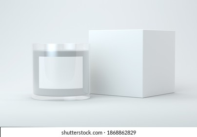 Candle and box packaging mock up 3d rendering