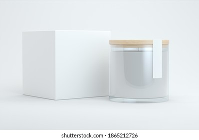 Candle with label and packaging box mock up 3d rendering