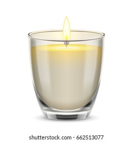 Candle light in a glass jar. 3d realistic illustration isolated on white background.