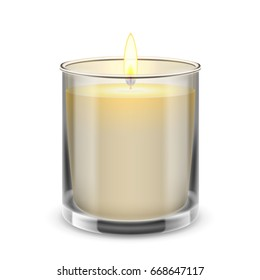 Candle light in a straight glass jar. 3d realistic illustration.