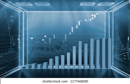 Candle stick graph chart of stock market investment trading with digital information screen.Investing and stock market concept.3D rendering