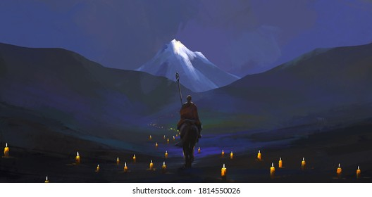 The candlelight pilgrimage road, digital painting.