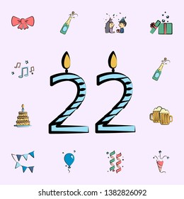 candles for 22 years colored icon. birtday icons universal set for web and mobile