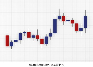 Candlestick chart - blue and red candlesticks showing upwards trend