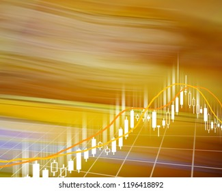 Candlestick chart and indicator on yellow background