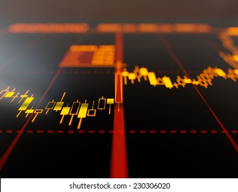 Candlestick chart on display close-up