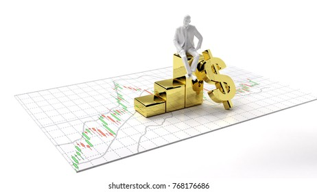 candlestick graph stock market  gold stock exchange graph and financial investor money background investment and money chart with indicator copy space minimal concept flat lay 3D illustration