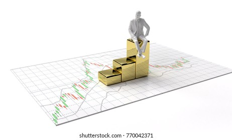 candlestick graph stock market  gold stock exchange graph money background investment and financial investor and money chart with indicator copy space minimal concept flat lay 3D illustration