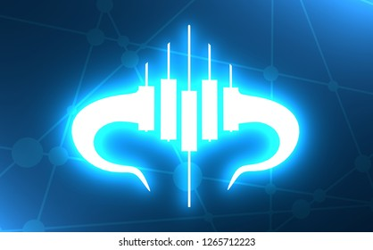 Candlestick trading chart analyzing in forex stock market. Exchange broker emblem. Bull horns and candles. Neon light illumination. 3D rendering