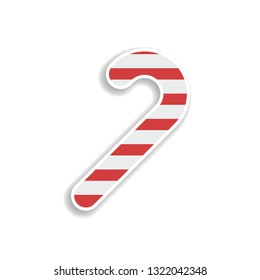 Candy cane 2 colored line sticker icon. Elements of Christmas in color icons. Simple icon for websites, web design, mobile app, info graphics