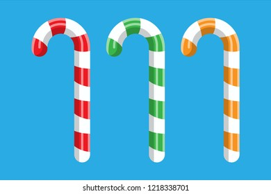 Candy cane. Christmas candy. Lollipop stick sweetness candycane. Happy new year decoration. Merry christmas holiday. New year and xmas celebration. illustration in flat style