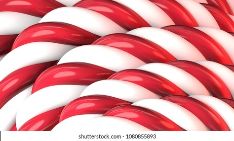 Candy cane pattern close-up. 3d rendering picture.