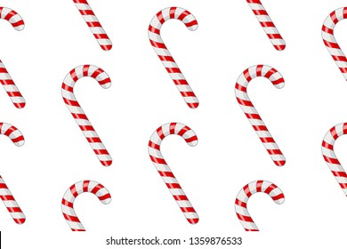 Candy canes. Red white striped candy in diagonal rows. Seamess pattern. 3d illustration. Raster version