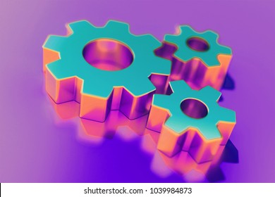 Candy Color Cogs Icon on Purple Background With Soft Focus. 3D Illustration of Cogs, Configuration, Gears, Machine Icon Set for Presentation.