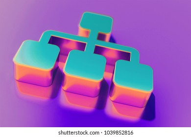 Candy Color Sitemap Icon on Purple Background With Soft Focus. 3D Illustration of Chart, Flowchart, Hierarchy, Navigation, Org, Organization Icon Set for Presentation.