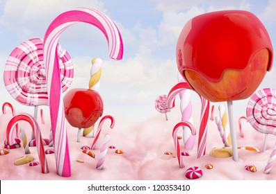 Candy land, high quality 3d render