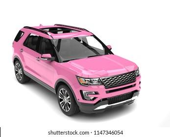 Candy pink big modern SUV car - 3D Illustration