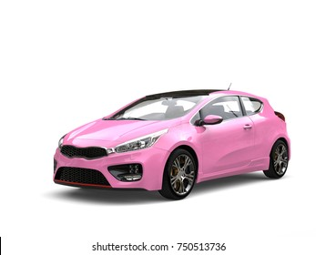 Candy pink modern compact electric car - beauty shot - 3D Illustration