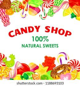 Candy shop concept background. Cartoon illustration of candy shop concept background for web design
