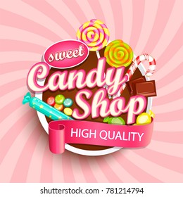 Candy shop logo label or emblem for your design. Raster copy.
