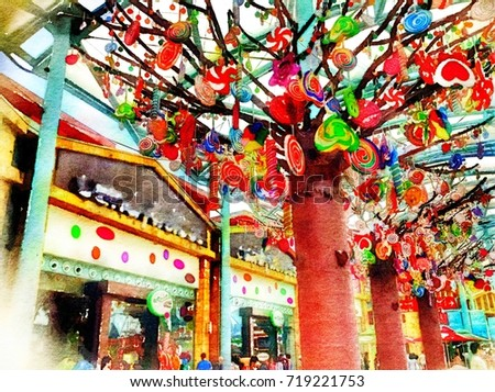 Royalty Free Stock Illustration Of Candy Shop On Sentosa Island Asia