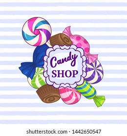 Candy shop. Striped background with frame of candies and text. Raster version